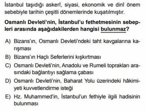 10. Sınıf Tarih İstanbul'un Fethi Testi Çöz – Ödev Zamanı